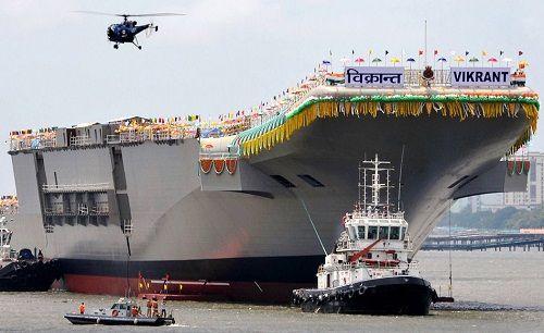 """印度国产航母""""维克兰特""""号。(资料图)"""