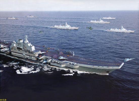 中国航母编队模拟图