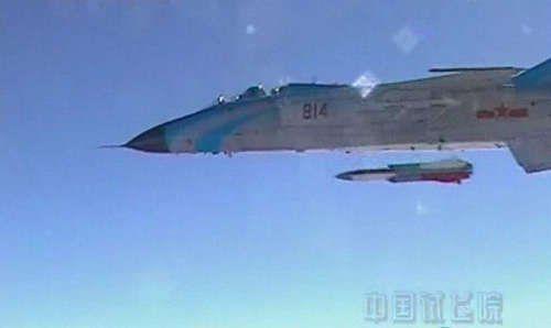 资料图:我国飞豹战机发射反舰导弹