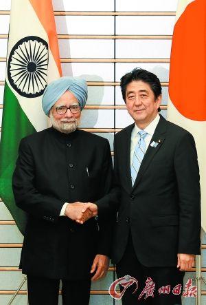 """日本首相安倍晋三将访问印度,或以""""主宾""""身份出席纪念日庆典,并向印度提供价值20亿美元低息贷款,以此来强化日印关系。"""