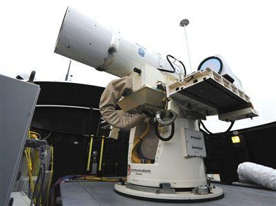 美军舰上临时装备的激光武器。资料图片