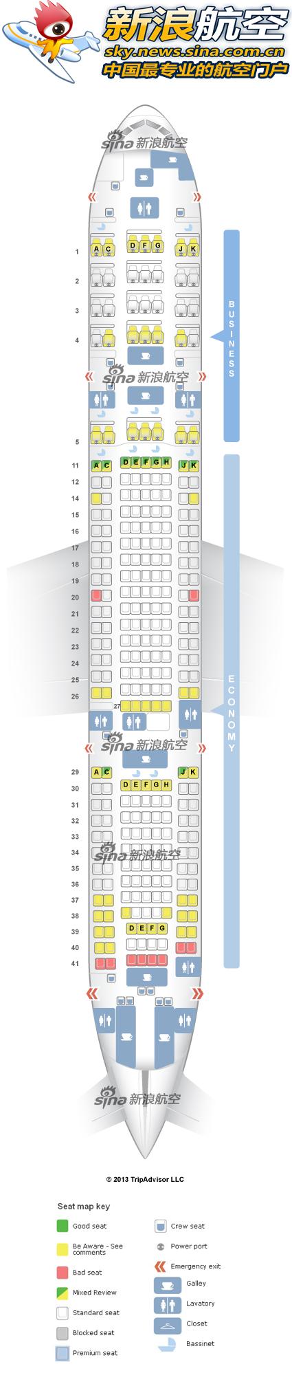 马来西亚航空波音777-200客机座舱布局图