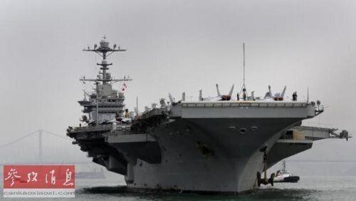 """资料图:美国""""乔治・华盛顿""""号航母16日例行停靠香港。"""