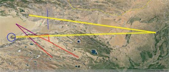 网友制作的两枚弹道导弹试射示意图。红线和蓝线分别是两组NOTAM关闭的航线,且末周围的蓝圈为禁飞区。两条黄线为推测的导弹飞行路线,射程分别约为2000 km和2250 km,推测都是高弹道飞行试验。