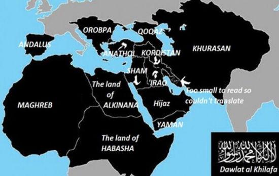 资料图:ISIS主张版图包括大半个非洲和整个西亚、中亚,公然把中国领土纳入了版图