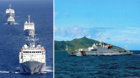 资料图:中国4艘海警船巡航钓鱼岛领海