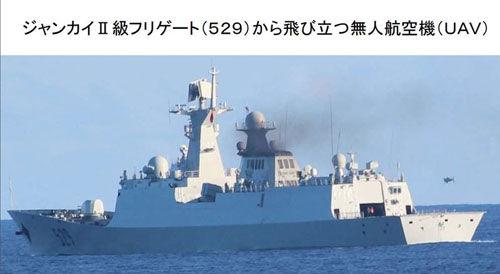 资料图:日本海上自卫队拍摄的中国054A护卫舰上的舰载无人机的起降活动