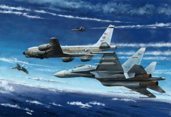 资料图:绘画作品中的中国空军拦截美军侦察机