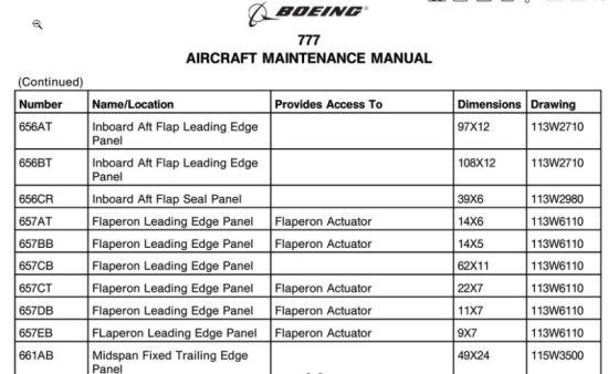 波音777飞机维护手册机翼部件编号