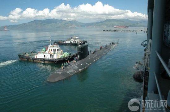 """资料图:美国海军""""夏威夷""""号核潜艇停靠苏比克湾"""