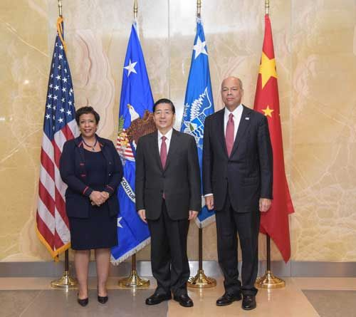 中美举办初次冲击收集犯法及关联事项初等级结合对话,郭声琨与美国司法部部长林奇、疆土平安副部长约翰逊独特掌管。