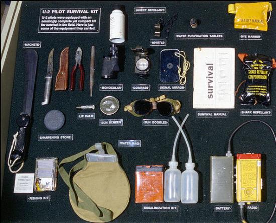 美军U-2飞行员救生设备,也是经典的飞行员救生包内容