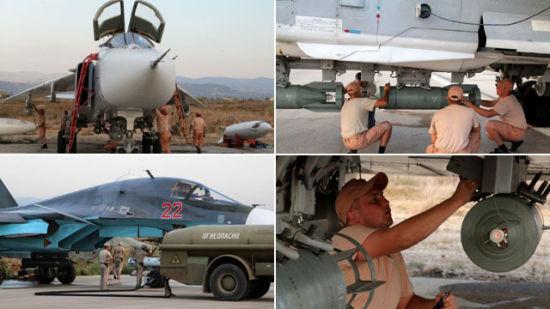 俄罗斯空军苏-34, 苏-25和苏-24战机在叙利亚拉塔基亚基地挂载炸弹准备出击。俄军这次使用武器包括KAB-500制导炸弹和KAB-250光电制导炸弹。