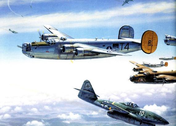图文:美国B-24轰炸机与德国战斗机作战示意图
