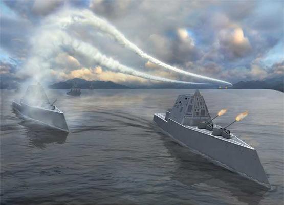 资料图:美国海军未来DDG1000驱逐舰作战假想图