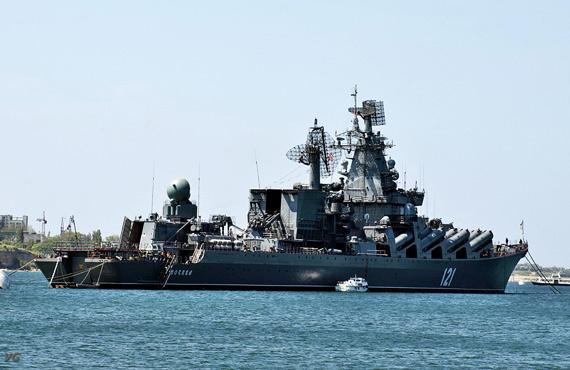 俄海军莫斯科号巡洋舰开进黑海
