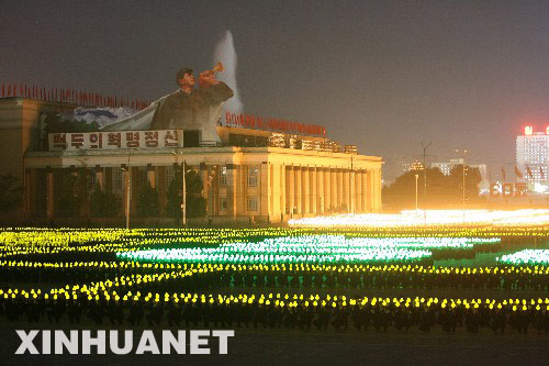 9 September, the North Korean capital Pyongyang, Kim The torch into the square on performance 。