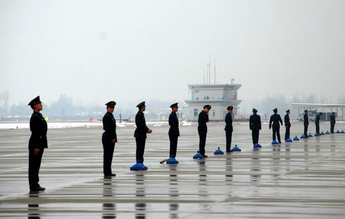in celebration of Air Force security guards being lined up to exercise.'s Daily reporter often red photography
