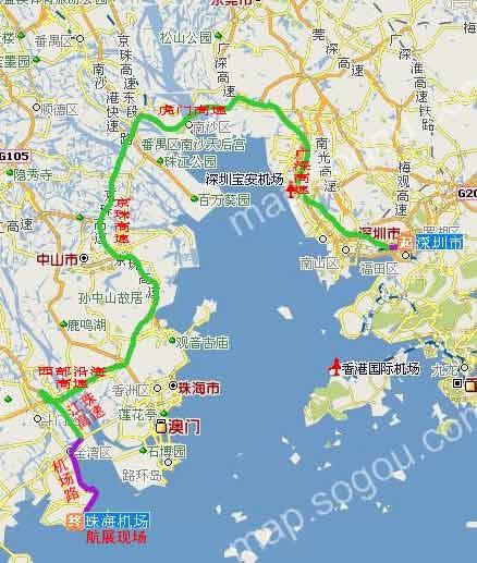 深圳至航展现场(珠海机场旁)路线