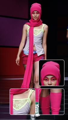 露脐蕾丝吊带+红色连帽围巾七匹狼设计师刘勇单飞之作 艳色运动风