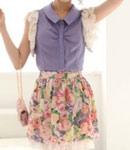 紫色的衬衫+花朵裙子