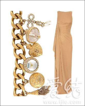 Badgley Mischka镀金水晶手链式腕表、Michael Kors褶皱礼服
