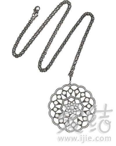 Stone黑色镀铑钻石点缀吊坠项链