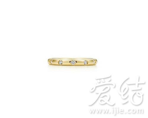 蒂芙尼18K黄金镶钻指环