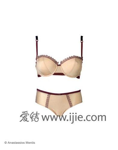 成熟优雅新娘内衣:半罩杯微纤维胸罩+内裤