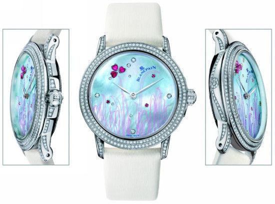 白色珍珠母贝表盘,镶有28颗宝石,共1.02克拉