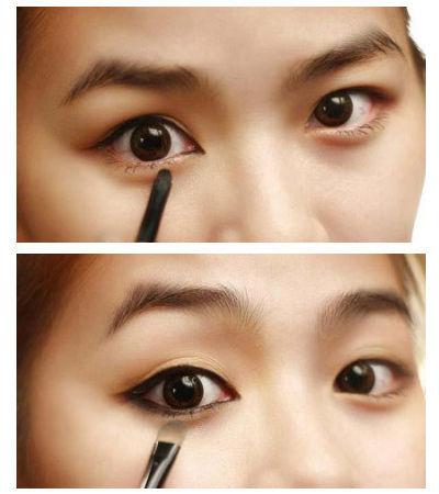 step  :提拉外眼角,勾画眼线