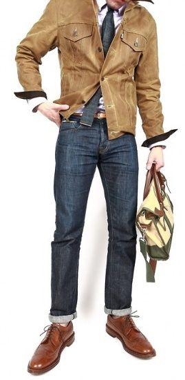 牛仔裤来搭配衬衣和外套