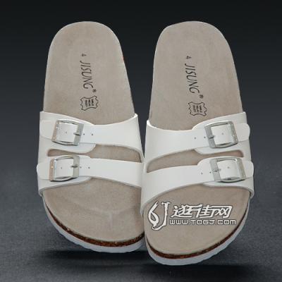 白色时尚软木凉拖鞋