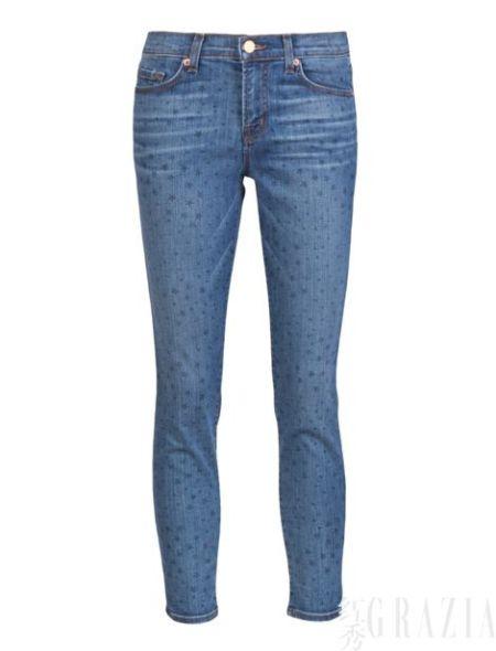 J Brand星形印花瘦腿牛仔九分裤,$198