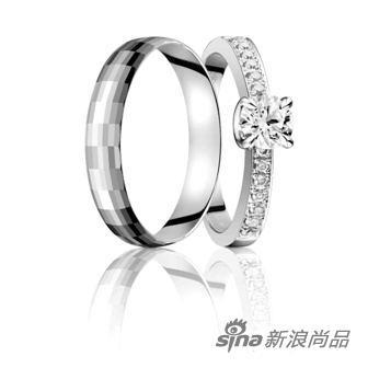 铂金戒指(男戒)-铂金与钻石组合婚戒推荐 2图片
