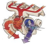 涡轮增压工作原理图,红色为高温废气,蓝色为新鲜空气