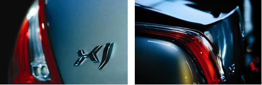 全新XJ浮雕式古典尾部简洁而又时尚动感的设计,传达强大、自信的信息