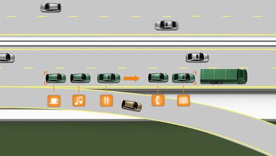 抵达目的地,离开车队,改为人工驾驶