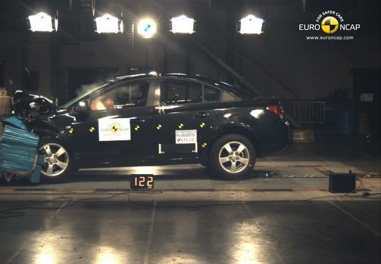 雪佛兰科鲁兹进行ENCAP正面偏置碰撞测试