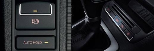左:EPB和AUTO HOLD操控键,右:PLA按键