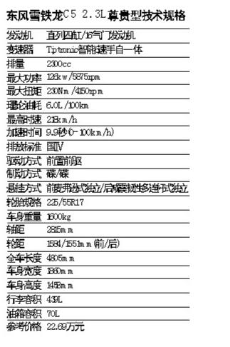 雪铁龙C5技术规格