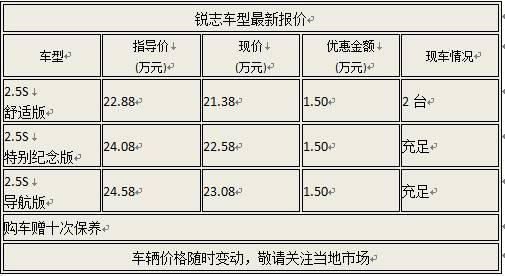 08款锐志优惠1.5万送十次保养 新款接受预定