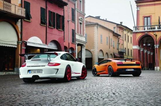 保时捷911 GT3 RS与兰博基尼Gallardo LP570-4 Superleggera