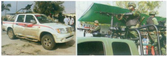 """利比亚武装自行改装的武装皮卡车架设武器的方式极为""""山寨"""",上面左图中利比亚的武装皮卡车上架设的通用机枪竟然用绳子绑扎,对比右图正规不对武装突击车上的专用枪架,这种山寨安装方式会严重影响武器的射击精度"""