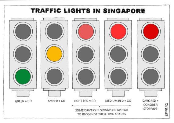 新加坡信号灯通行规则