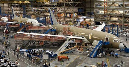 位于埃弗雷特的波音787生产线。波音787的设计在Cray超级计算机上用时80万个小时。整个客机机体各部分在全球50个地方组装。