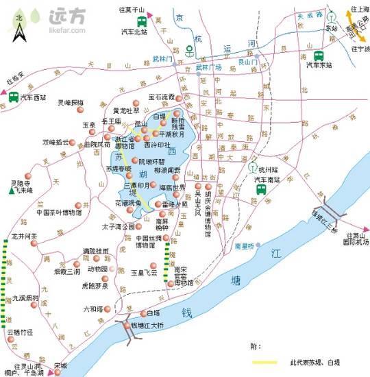 杭州旅游线路图