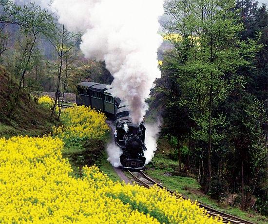 吐着浓浓白烟的火车头