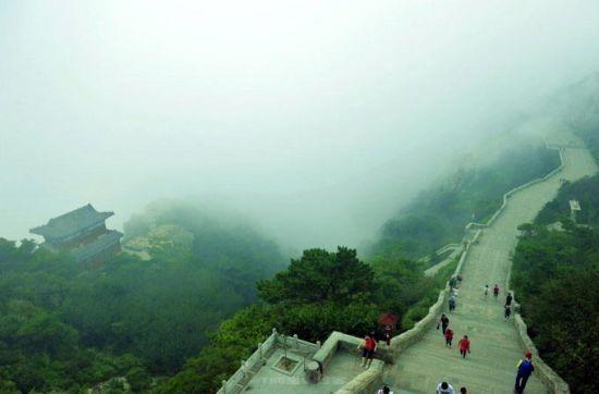 雾气让整个泰山显得神秘了起来