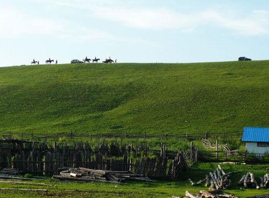 新浪旅游配图:马队行走山坡绿色的轮廓线上 图:伊夫